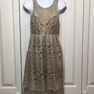 Free People Taupe Floral Lace Dress open Back SZ 8